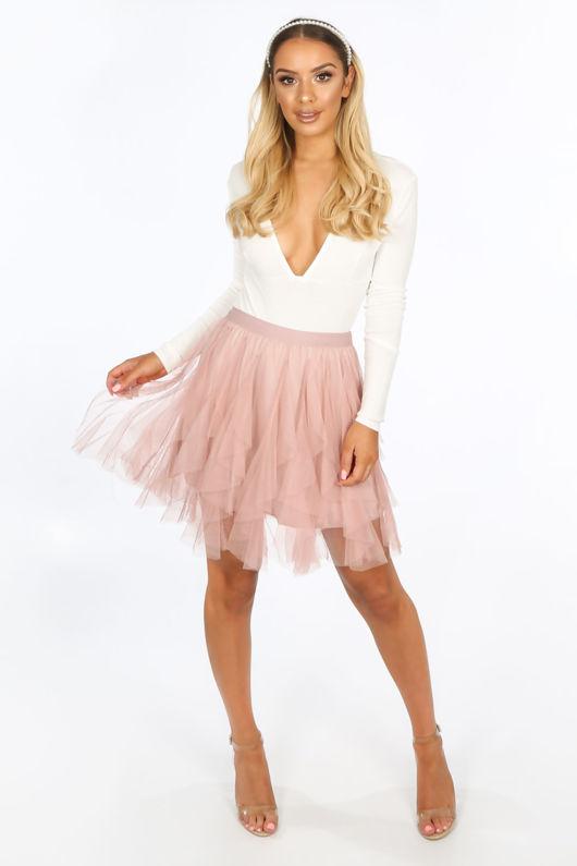 95aefb0ec510 Ruffle Draped Mini Tulle Skirt In Pink