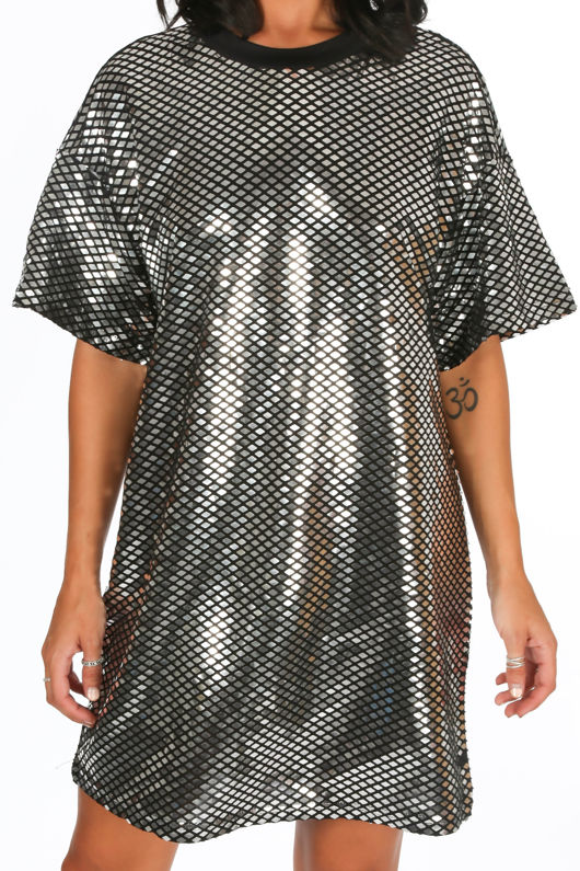Mirror Sequin T-Shirt Dress