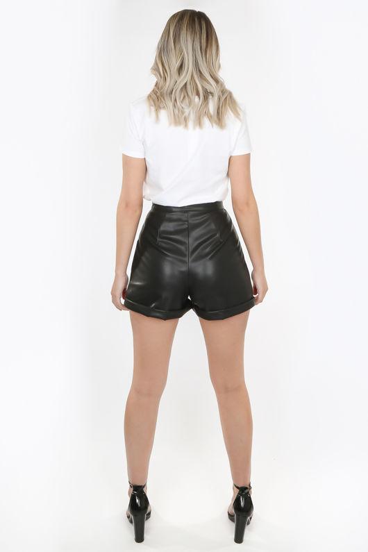 Black Turned Up Mom Shorts