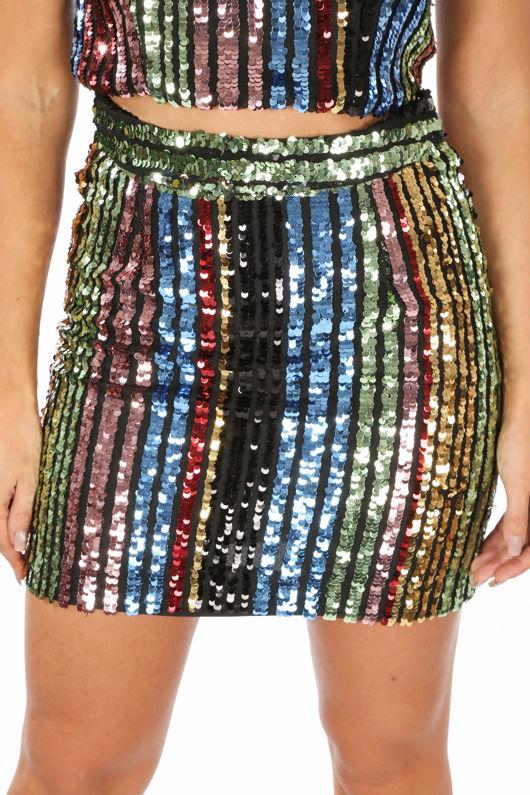 Multi-Coloured Stripe Sequin Mini Skirt