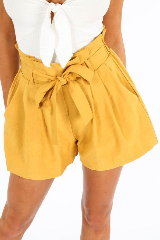 Mustard Belted Paper Bag Shorts