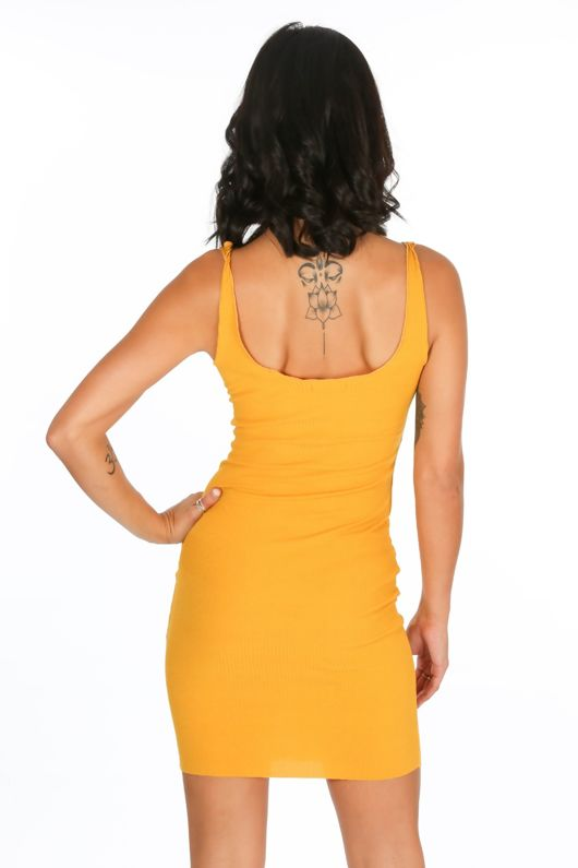 Mustard Button Front Ribbed Jersey Dress