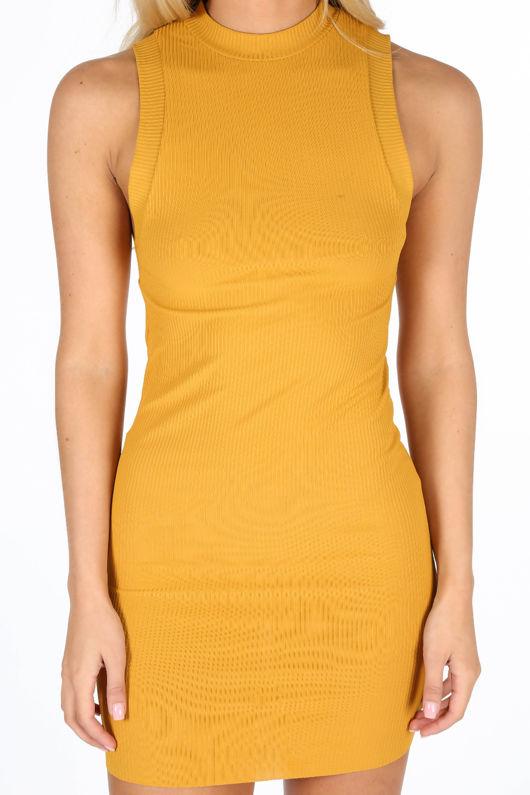aff59114c5b Mustard High Neck Ribbed Jersey Mini Dress