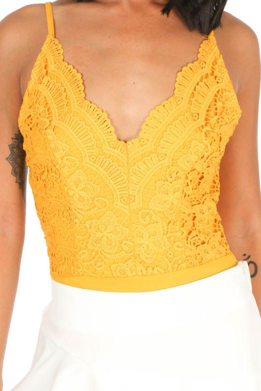 Mustard Scallop Edge Slinky Crochet Bodysuit
