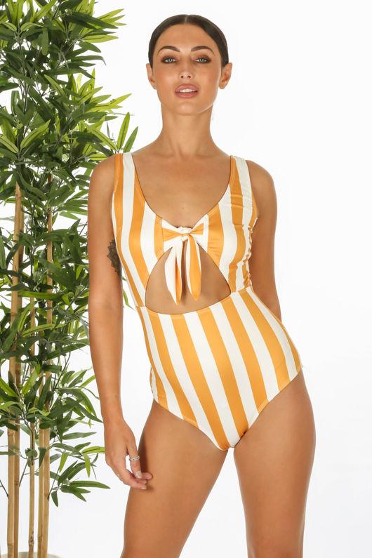 Mustard Striped Tie Front Swimsuit