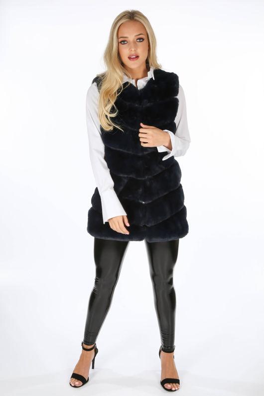 Navy Luxury Long Faux Fur Gilet