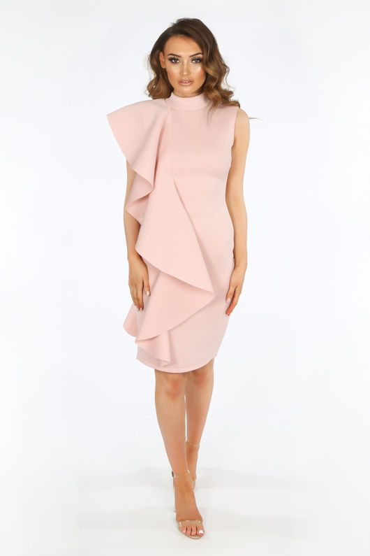 Pink Neoprene Frill Shoulder Midi Dress