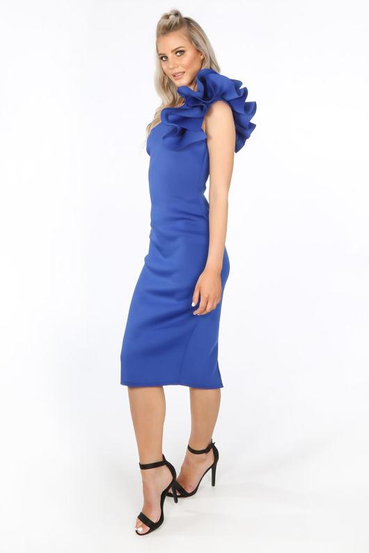 14d1e5246f07f Cobalt One Shoulder Ruffle Midi Dress in Neoprene