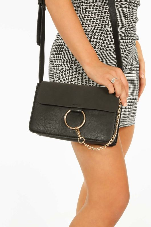Black Shoulder O Ring Bag