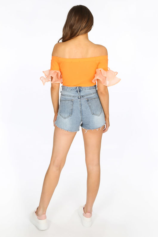 Neon Orange Bardot Top With Sheer Frill Sleeve