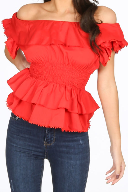Red Frill Off The Shoulder Peplum Top