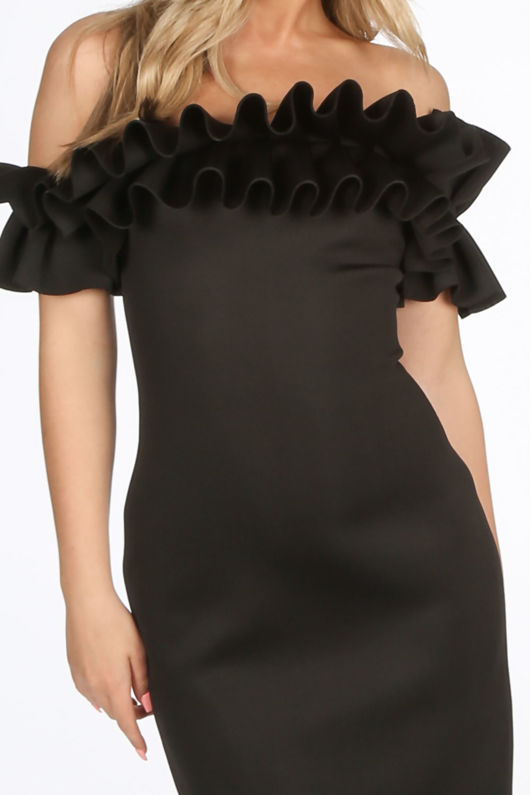 Black Neoprene Ruffle Bardot Midi Dress