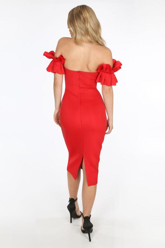 Red Neoprene Ruffle Bardot Midi Dress