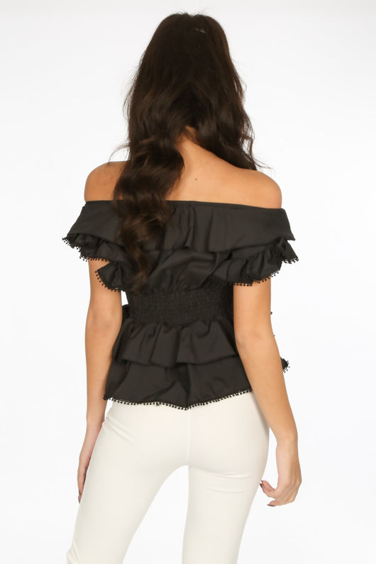 Black Frill Off The Shoulder Peplum