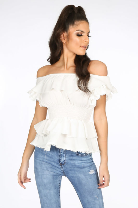 White Frill Off The Shoulder Peplum