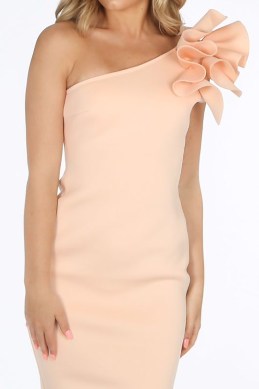 Light Pink One Shoulder Ruffle Midi Dress in Neoprene