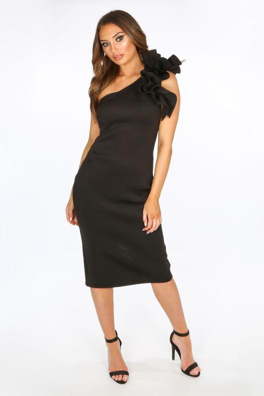 One Shoulder Ruffle Midi Dress In Black Neoprene