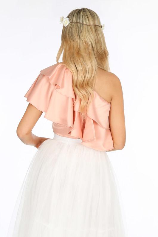Pink One Shoulder Frill Crop Top