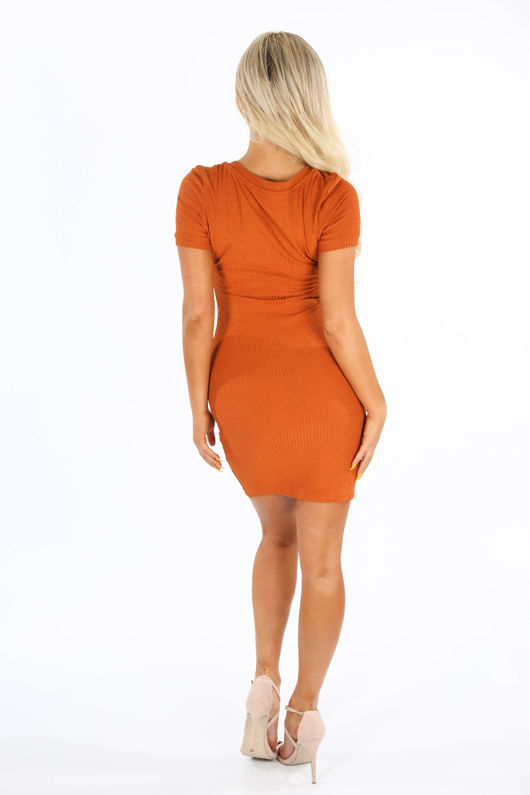 Ribbed Bodycon Jersey Dress In Rust