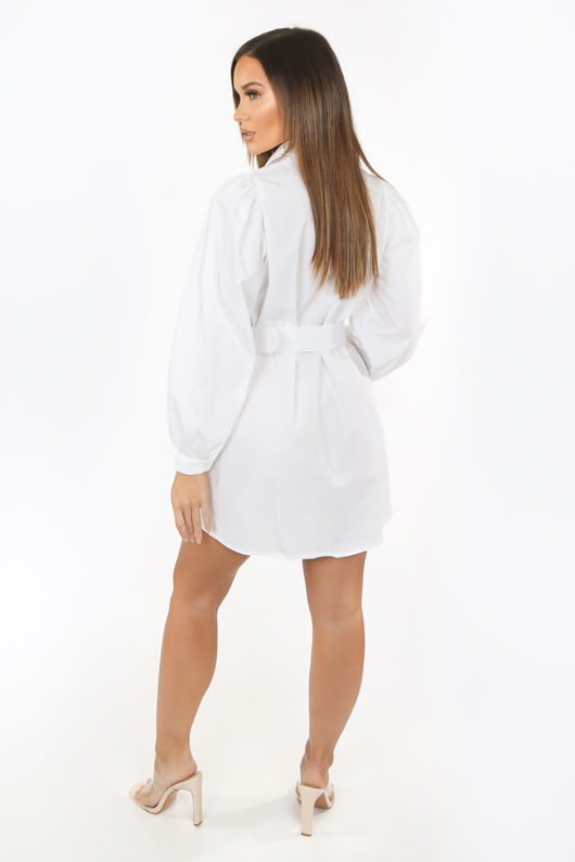 White Oversized Belted Shirt Dress