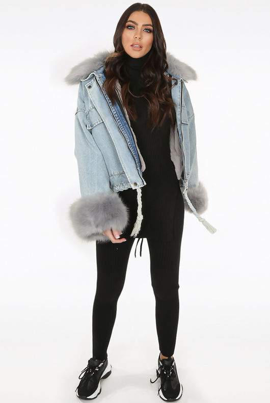 Grey Faux Fur Oversized Denim Jacket