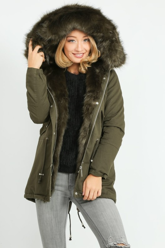 d2c0684fcd922 Faux Fur Lined Parka In Green