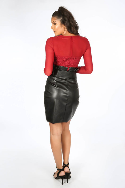 PU Belted Tailored Wrap Mini Skirt