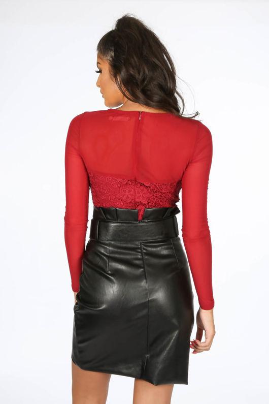 PU Belted Tailored Wrap Mini Skirt