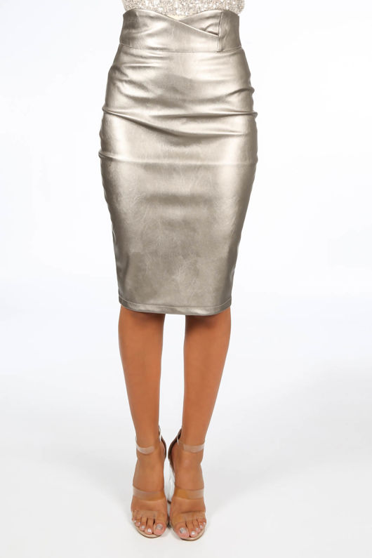 Bronze Metallic High Waisted PU Midi Skirt