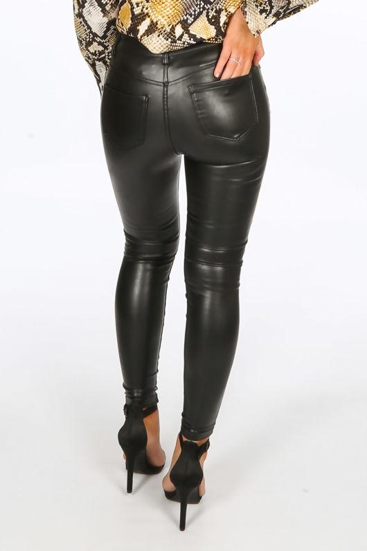 Black PU Jeans