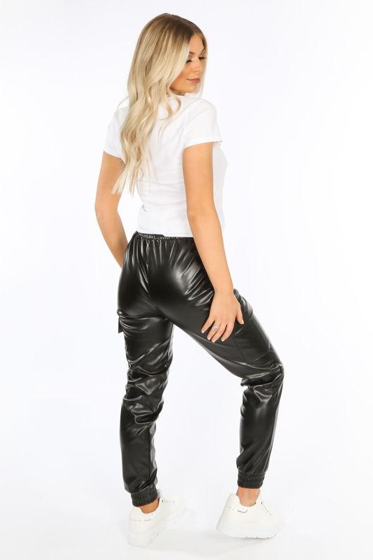 Black PU Cargo Trouser