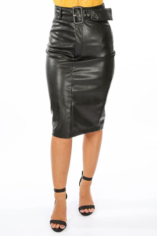 PU Belted Midi Skirt In Black