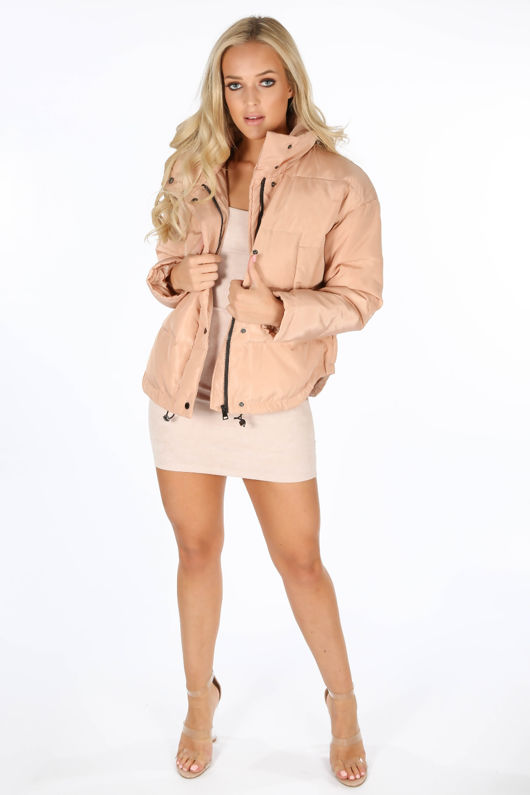 Padded Bomber Jacket In Pink
