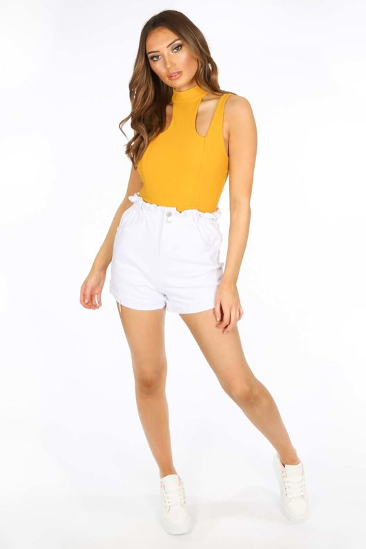 White Paperbag Denim Shorts
