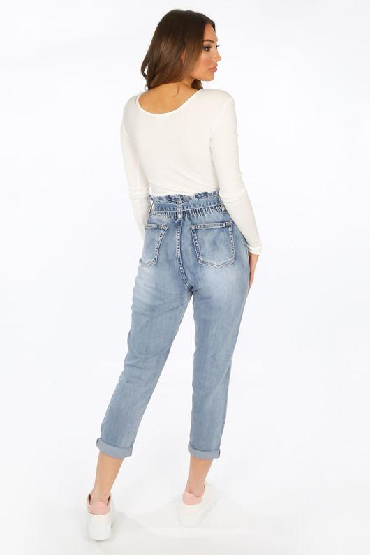 Acid Wash Paperbag Jeans