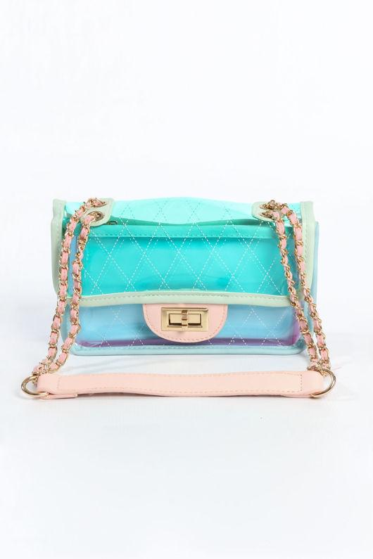 Pastel Perspex Shoulder Bag In Mint