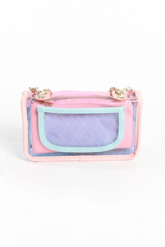 Pastel Perspex Shoulder Bag In Pink