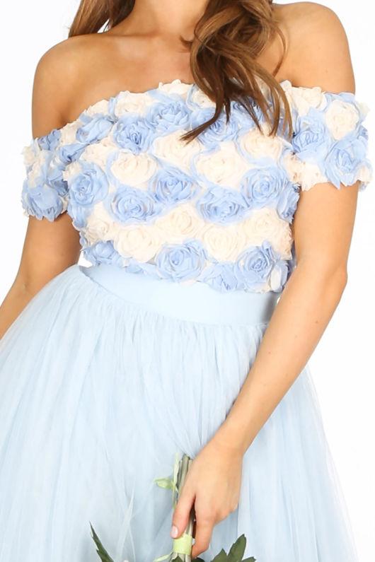 46d76fe1f0a134 Chiffon Rose Applique Crop Top In Light Blue