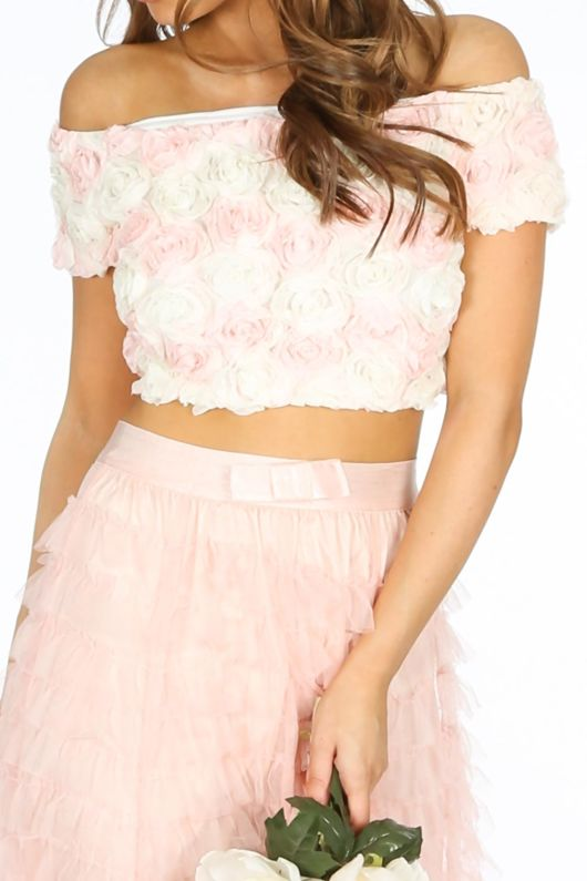 Chiffon Rose Applique Crop Top In Light Pink