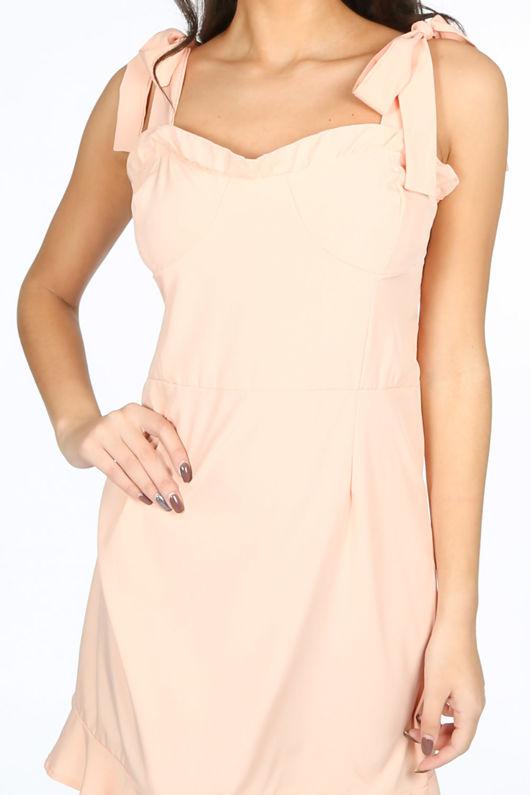 Pink Pinafore Dress With Frill Hem