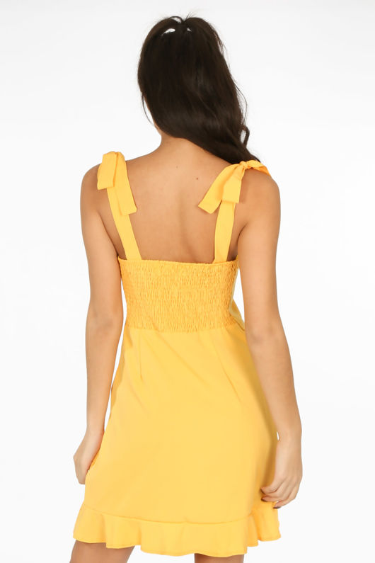 Yellow Pinafore Dress With Frill Hem