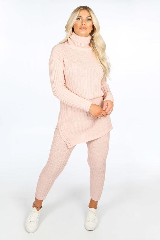 Pink Knitted Longline Jumper & Leggings Set