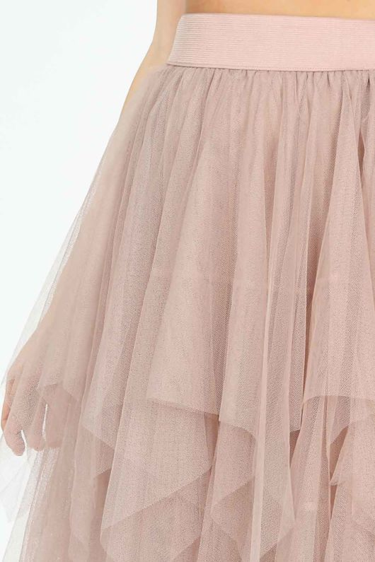 Draped Ruffle Tulle Skirt In Blush
