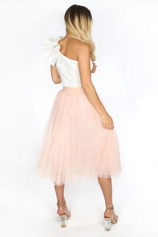 Midi Tulle Skirt In Light Pink