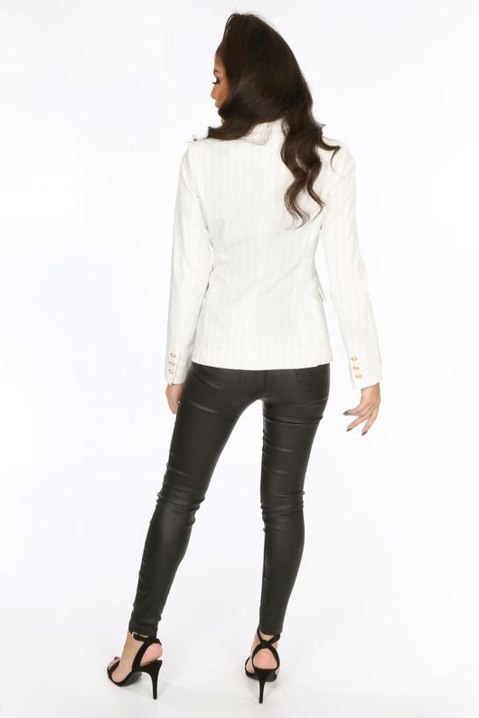 Pinstripe Asymmetric Blazer In White