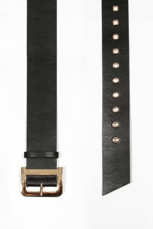 Black Waist Belt With Gold Buckle
