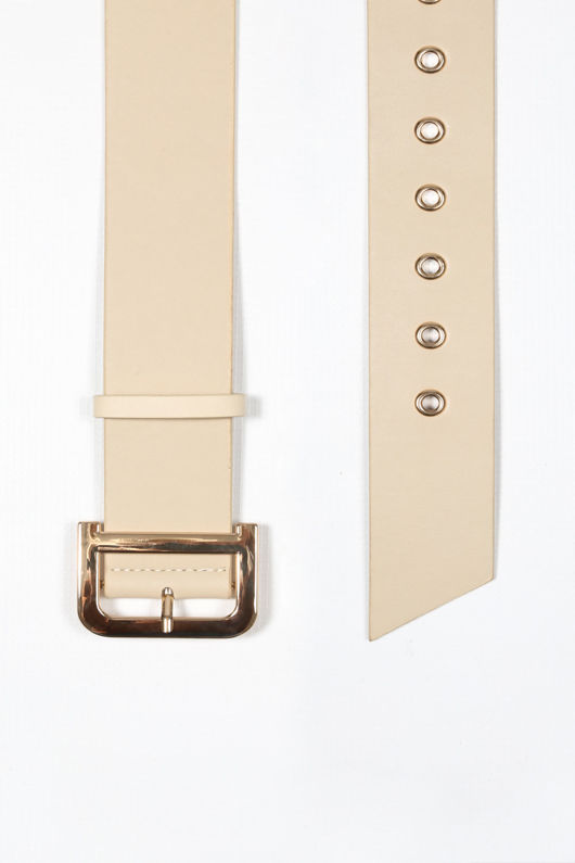 Cream Waist Belt With Gold Buckle