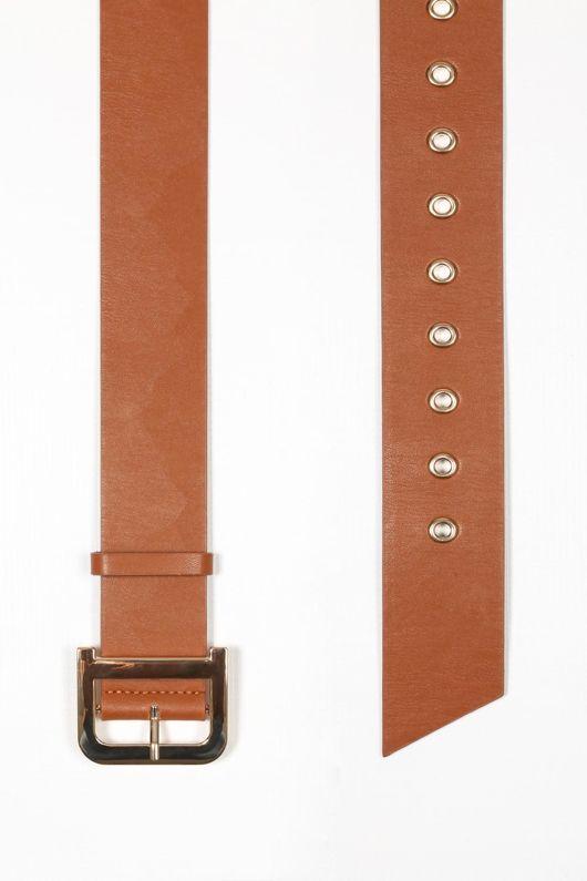 Tan Waist Belt With Gold Buckle