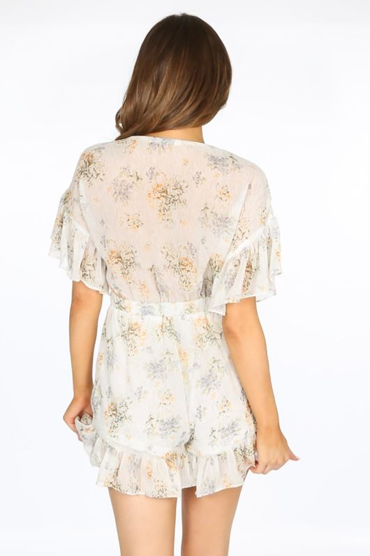 White Ditsy Floral Chiffon Playsuit