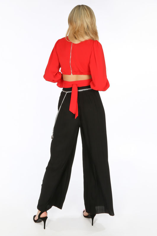 Black Pleated Palazzo Trouser